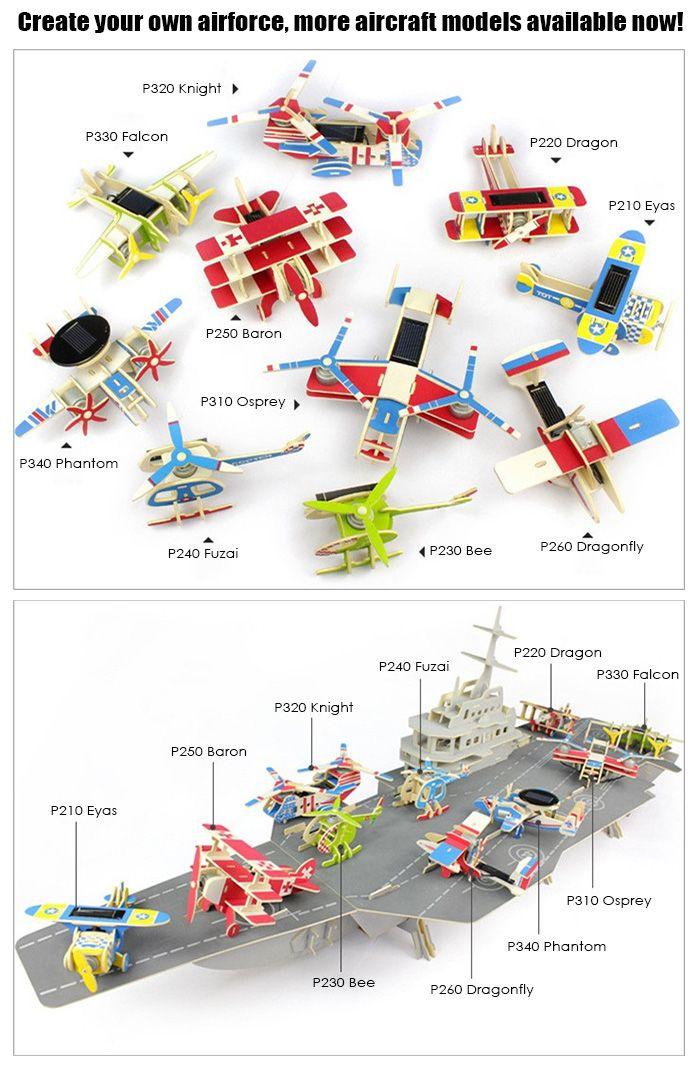 Solar Biplane Dragon P220 Puzzle Scientific Green Energy DIY Toy Blocks