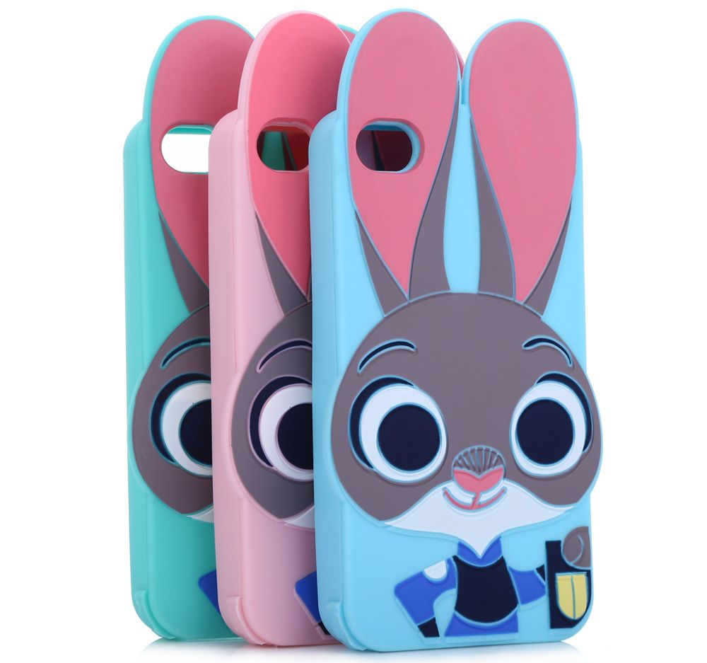 Cartoon Rabbit Pattern Protective Back Cover Case for iPhone 4 Silicone Soft Mobile Protector with Button Protection