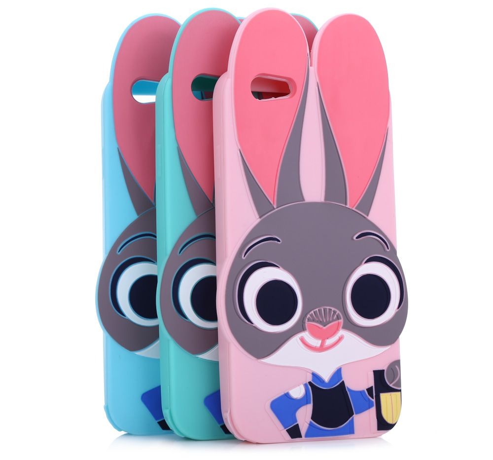 Cartoon Rabbit Pattern Protective Back Cover Case for iPhone 6 / 6S Silicone Soft Mobile Shell with Button Protection