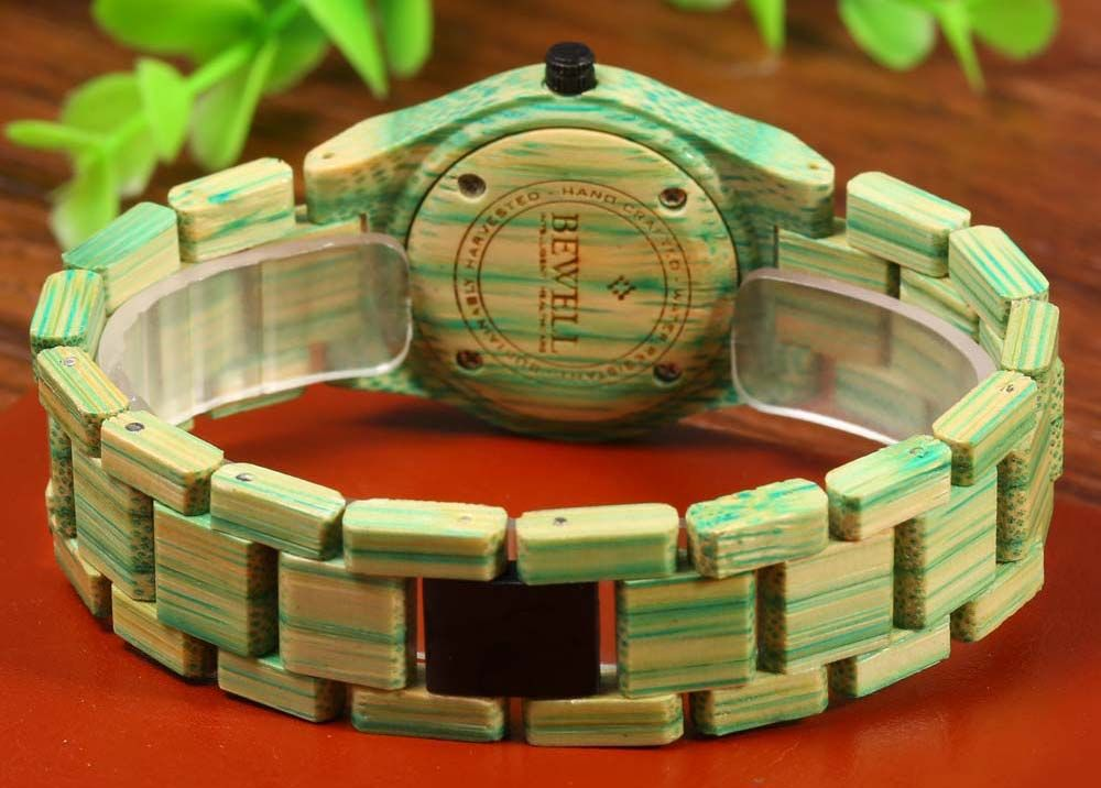 BEWELL Female Quartz Watch Colorful Bamboo Made