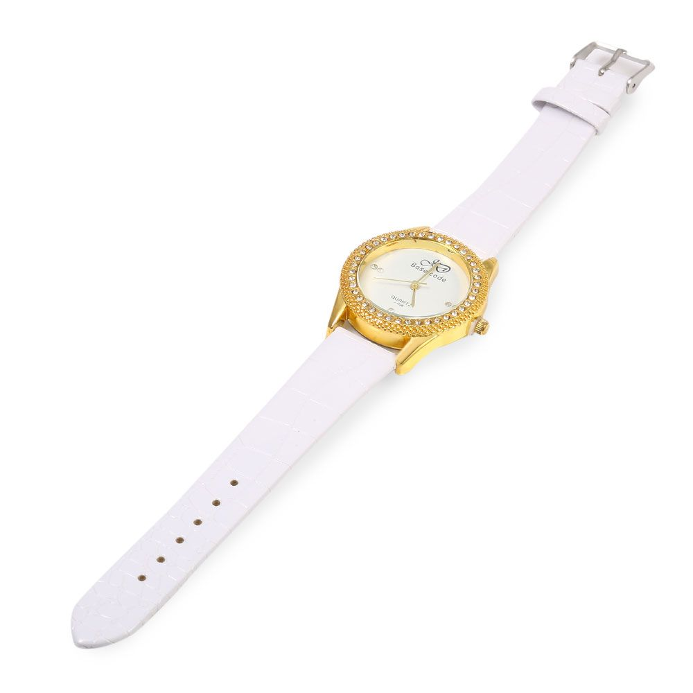 Base code J - 038 Casual Style Leather Band Female Quartz Watch
