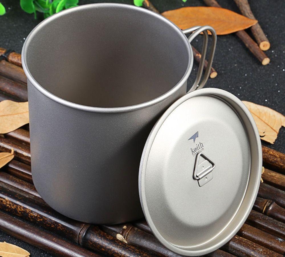 Keith Ti3208 650mL Titanium Cup with Folding Handle