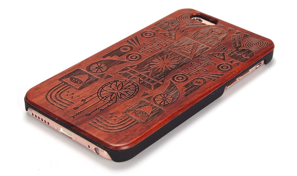 Carved Pattern Wooden Shockproof Protective Back Case for iPhone 6 Plus / 6S Plus