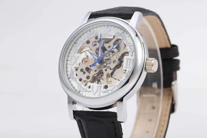 JIJIA Roman Scale Style Hollow-out Mechanical Watch for Male