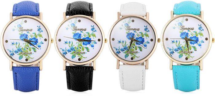 Hot Selling Geneva Quartz Flower Watch for Women Leather Band Rose Pattern