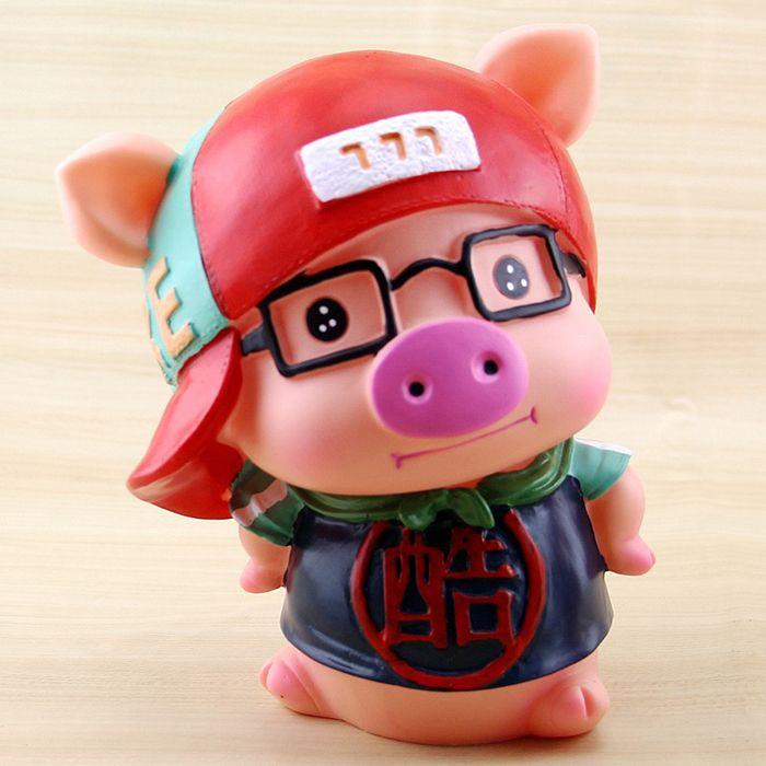 Lovely Glasses Pig Saving Pot Money Bank Decoration Home Model Toy