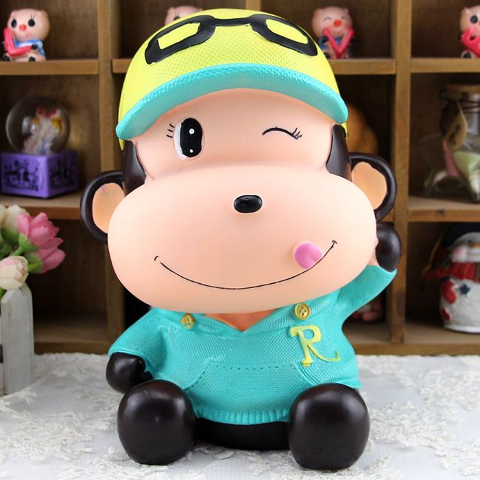 Cute Monkey Shape Saving Pot Money Box Model Toy Decoration Home Bedroom