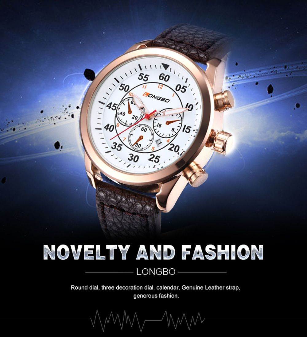LONGBO 1036 Men Decorative Sub-dials Imported Movement Quartz Watch