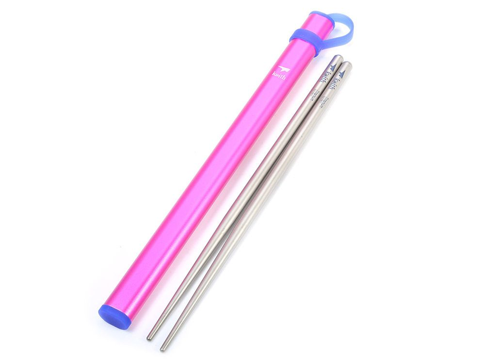 Keith Ti5820 Ultralight Titanium Chopsticks with Metal Packing Tube