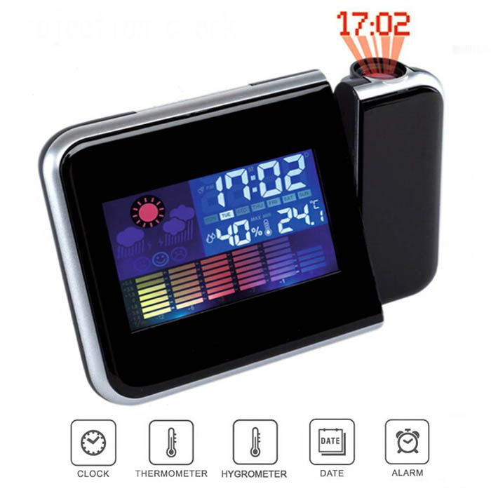 DS - 8190 LED Rotating Projection Color Screen Calendar Clock with Weather Forecast Alarm Function