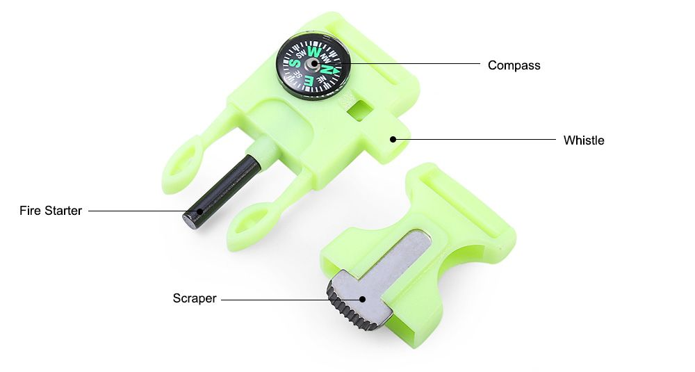 2pcs 4 in 1 Practical Survival Tool Buckle Shape Fire Starter Whistle Compass Scraper