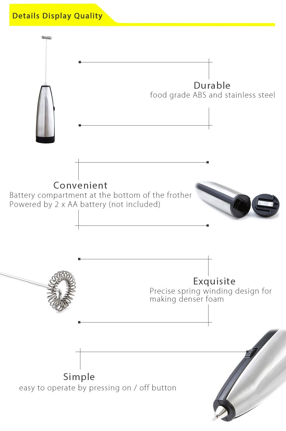 Stainless Steel Electric Milk Frother Mixer Handhold Egg Foamer Stirrer