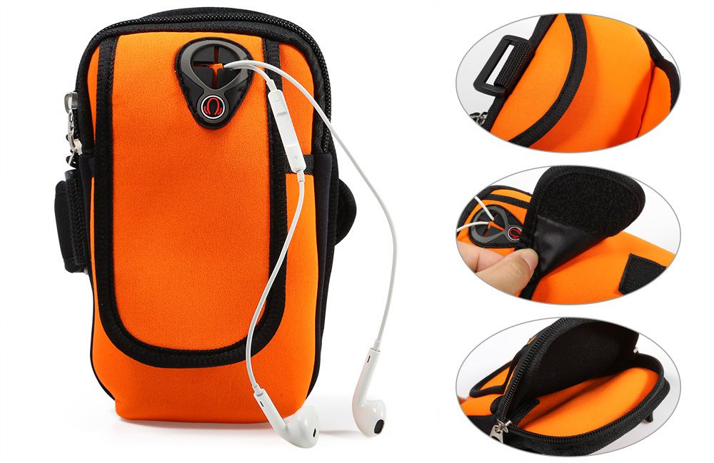 Unisex Water Resistant Arm Bag with Hole for Earphone Cable