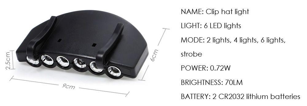 4 Modes 6 LEDs Clip Hat Light Head Lamp