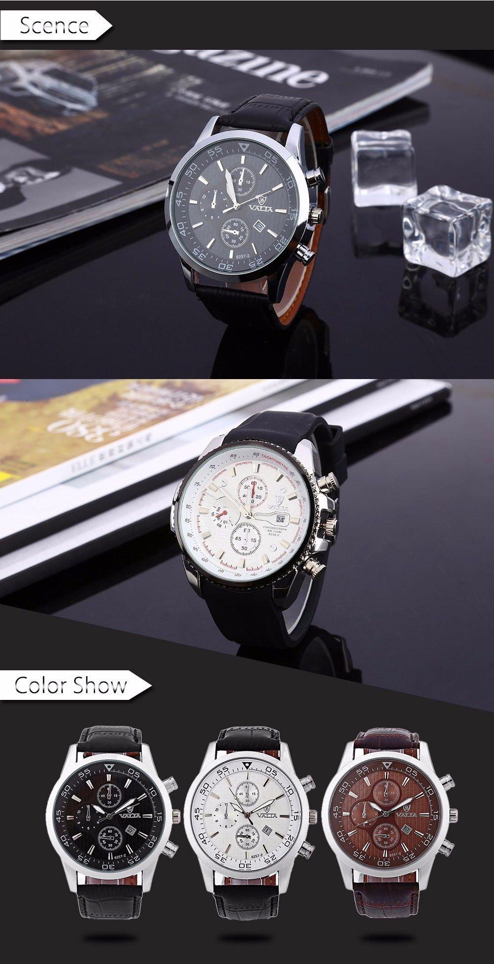Valia 8257-2 Men Quartz Watch Date Decorative Sub-dials Round Dial Leather Band