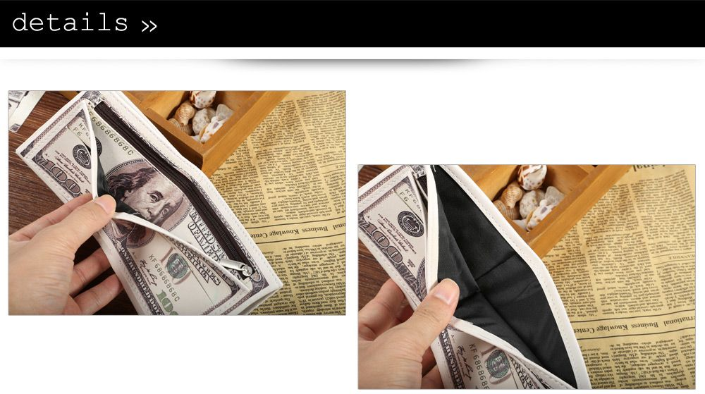 Unisex Retro Style PU Wallet with US Dollar Pattern Card Holder