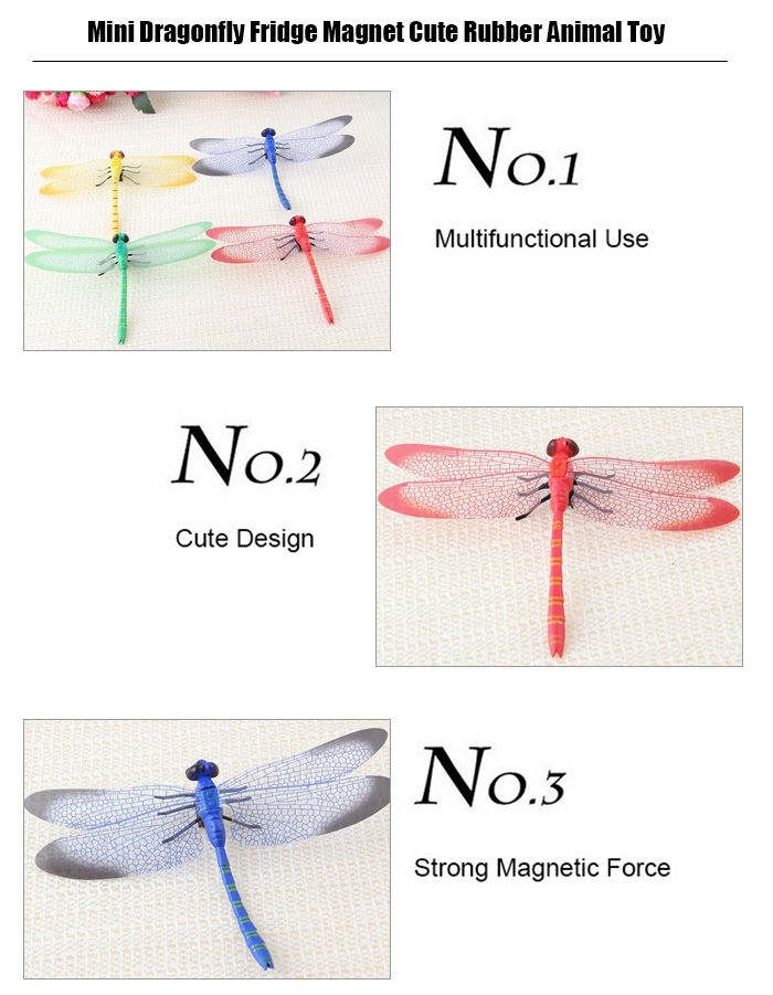 Mini Dragonfly Fridge Magnet Cute Rubber Animal Toy Novelty Curiously Awesome Gift - 5pcs / set
