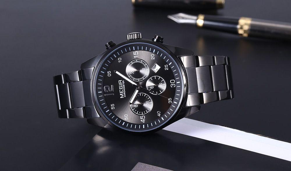 MEGIR 2010 30M Water Resistance Quartz Watch Date Function Stainless Steel Band for Men