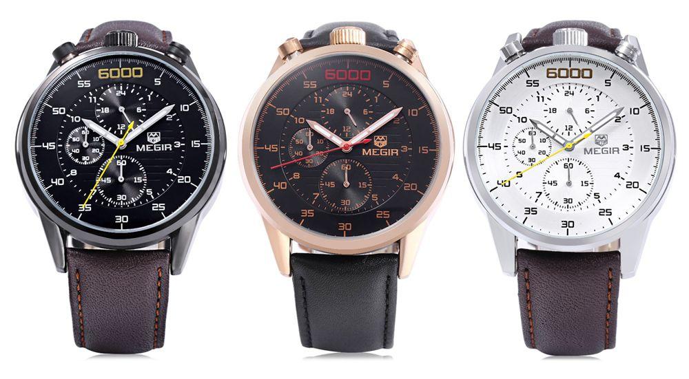 MEGIR 3005 Leather Strap 30M Water Resistant Male Quartz Watch with Luminous Analog Working Sub-dials