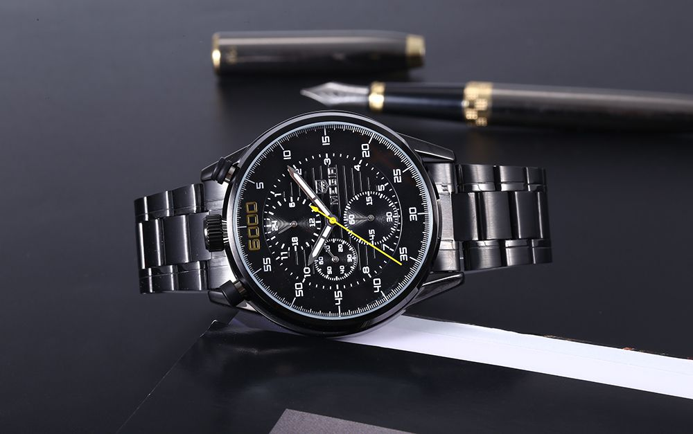MEGIR 3005 Steel Strap 30M Water Resistant Male Quartz Watch with Luminous Analog Working Sub-dials