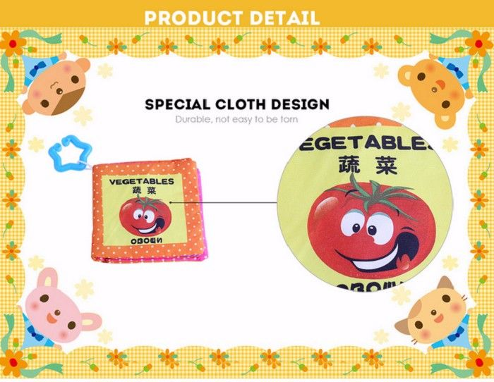 Baby Chinese English Russian Cloth Book Early Development Toy - 4pcs / set