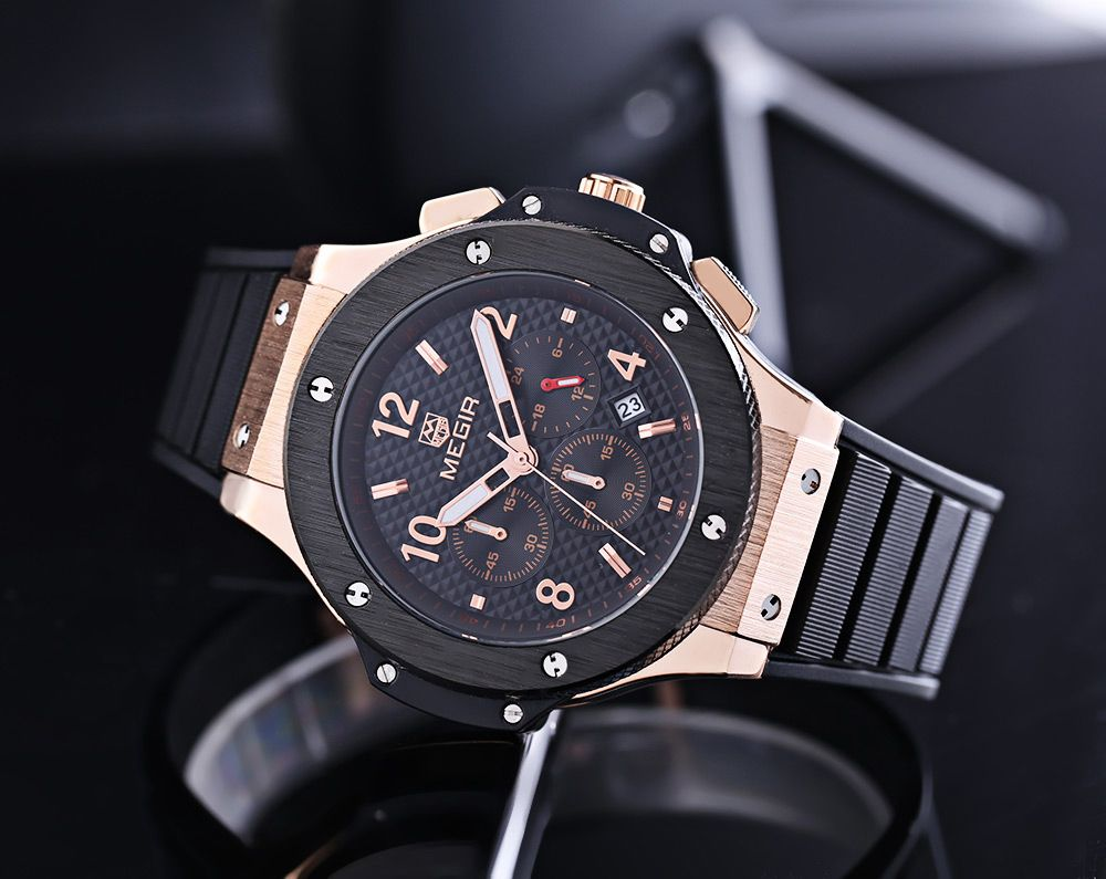 MEGIR 3002G Male Quartz Watch with Date Function Silicone Band Luminous Pointer 30M Water Resistance