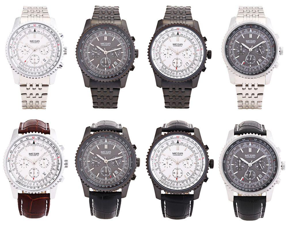 MEGIR 2009 Leather Strap 30M Water Resistant Male Japan Quartz Watch with Date Display