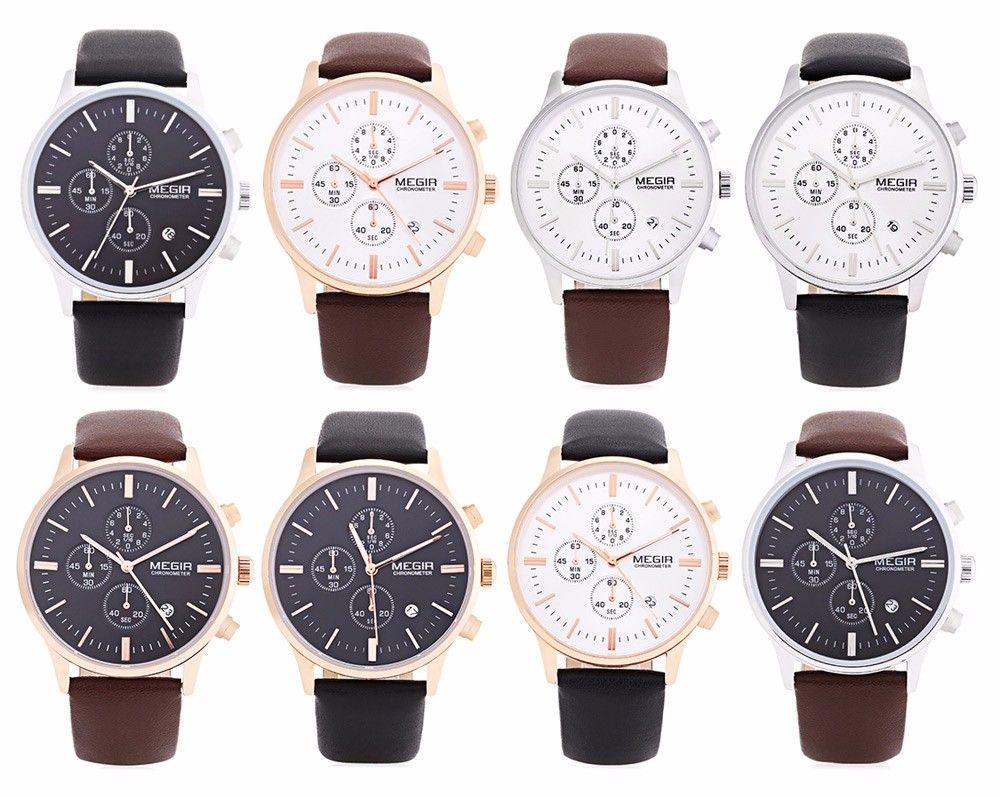 MEGIR 2011 Male Japan Quartz Watch Date Display Leather Band 30M Water Resistance