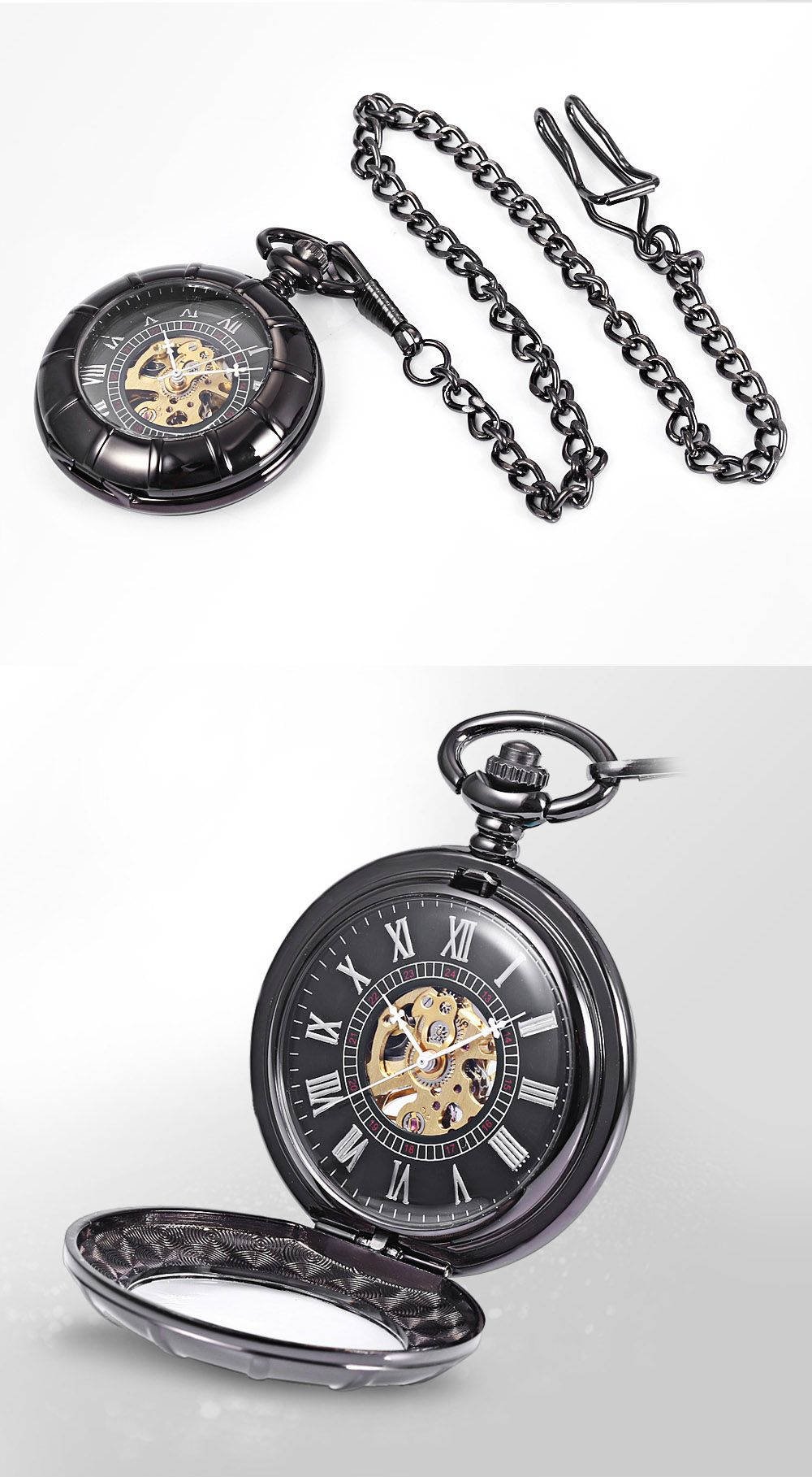 Round Shape Roman Numbers Indicate Vintage Mechanical Flip Pocket Watch