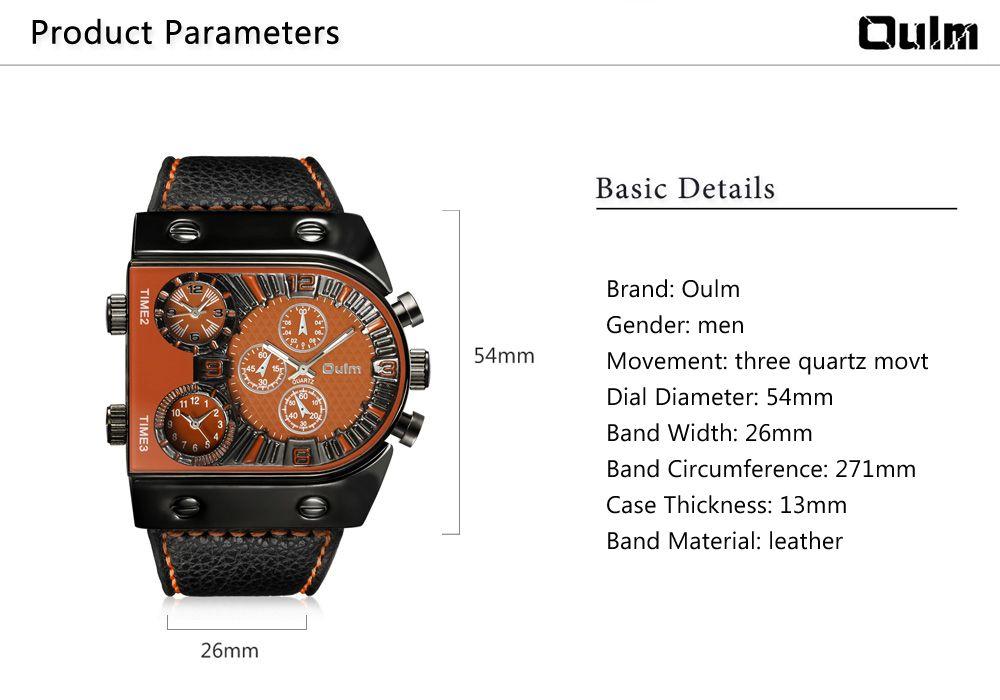 Oulm Multi-Function 3-Movt Quartz Leather Wristwatch Men Military Sports Watch
