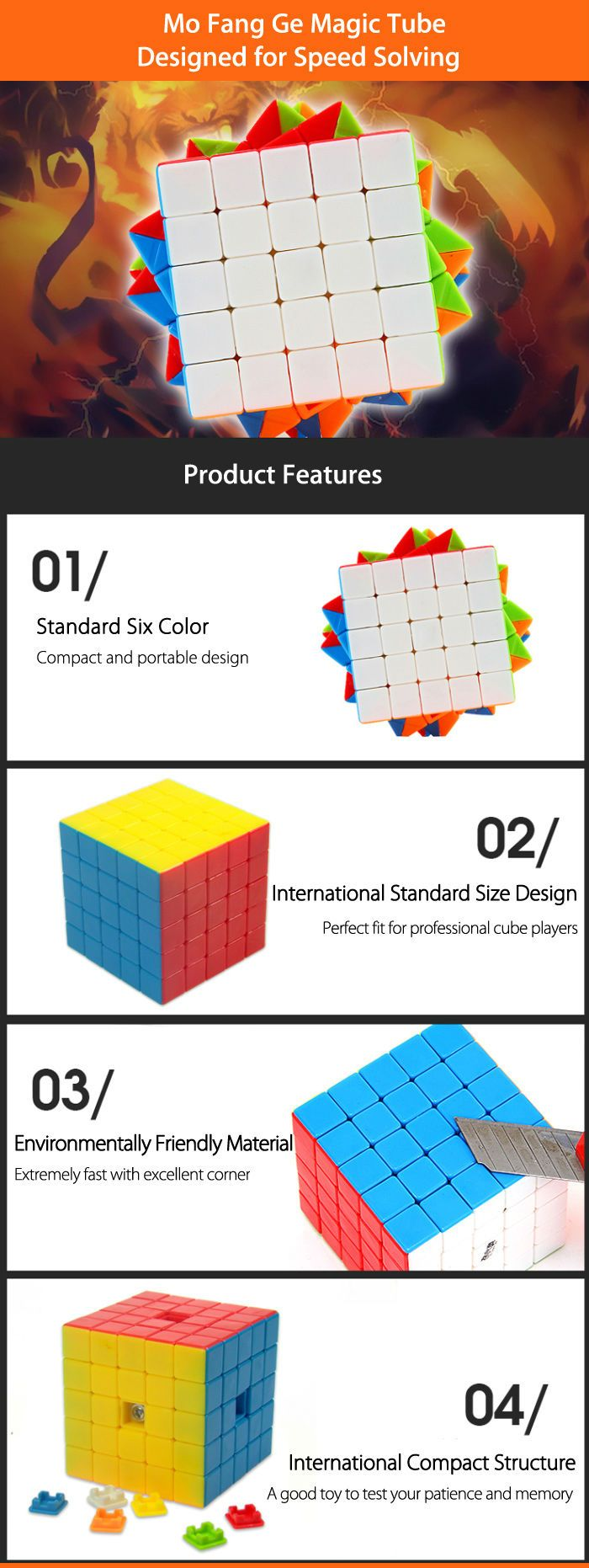 MO FANG GE 5 x 5 x 5 Five Layer Magic Cube Brain Teaser