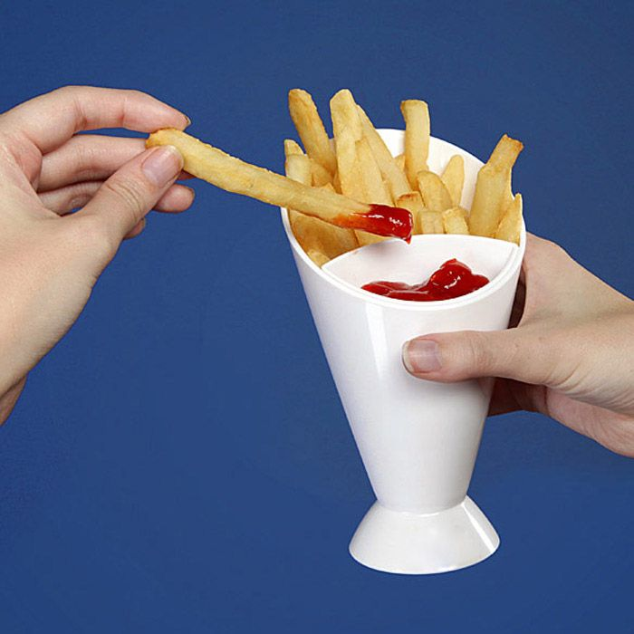 Creative French Fry Cone Dipping Cup 2 in 1 Water Drinking Mug
