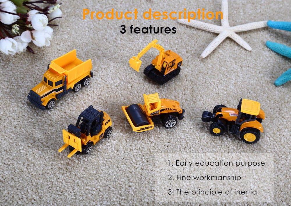 1 / 64 Scale Alloy + Plastic Truck Construction Vehicle Model - 5pcs / set