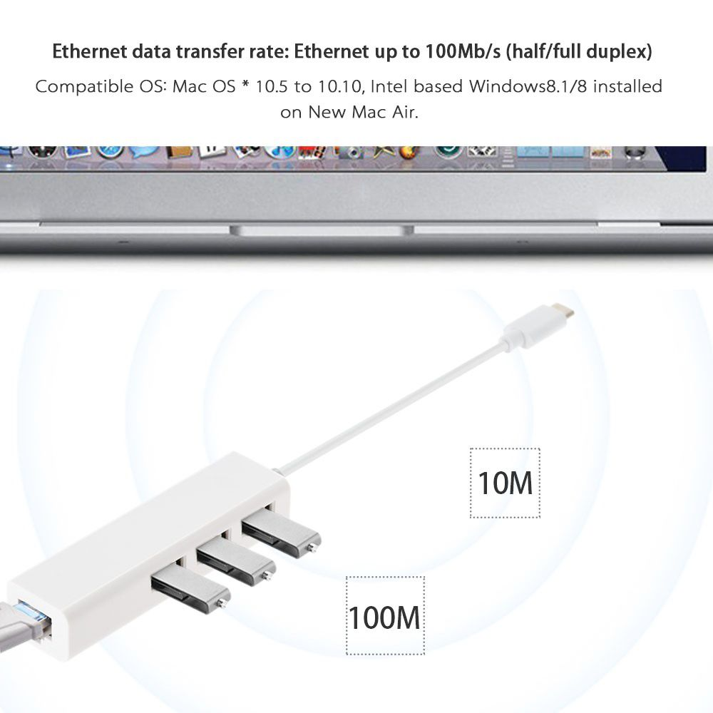 U3 - 239 USB 3.1 Type C to 3 Ports USB 2.0 Hub with Ethernet Network LAN Adapter for Home Office