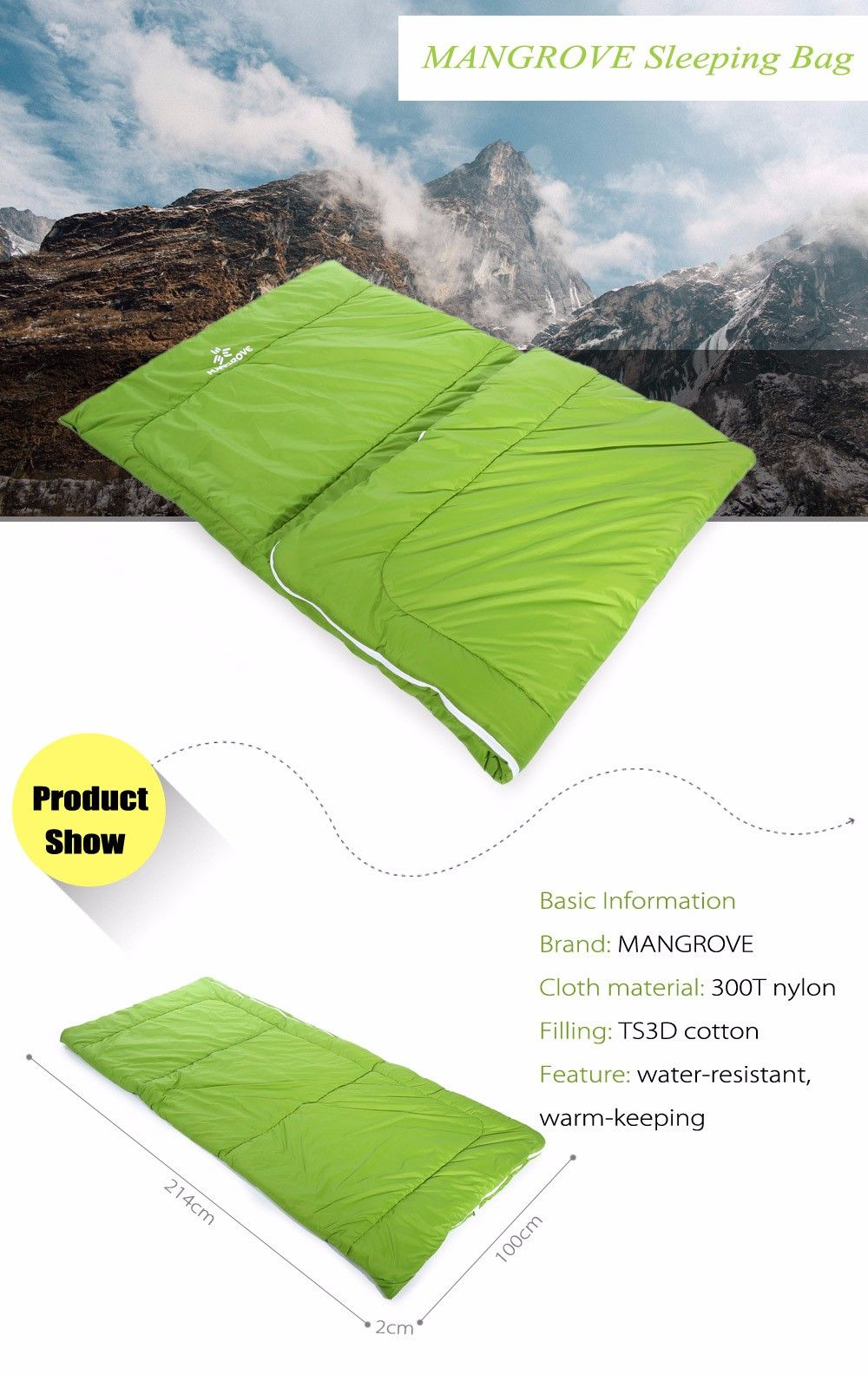 MANGROVE Portable Water-resistant Nylon Camping Sleeping Bag