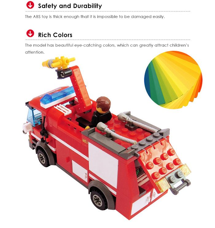 206pcs ABS Building Block Fire Engine Model DIY for Kids