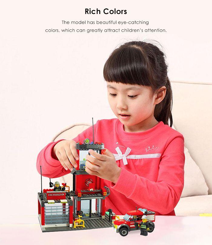 300pcs ABS Mini Fire Station Building Block Model DIY Birthday Gift for Kids