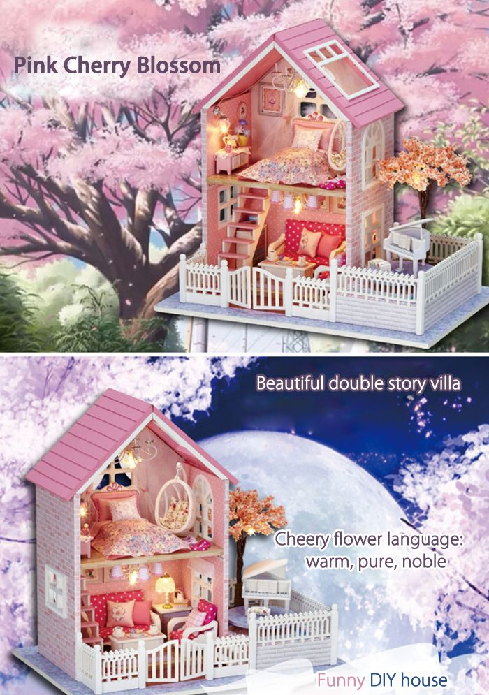 Wooden DIY House Miniature Kit with LED Light Furniture Handcraft Toy