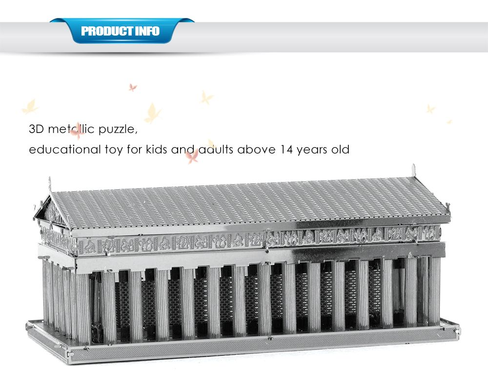 ZOYO 3D Metal Parthenon Temple Model Metallic Building Puzzle Educational Assembling Toy