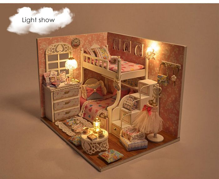 DIY House Miniature Kit with LED Light Children Wooden Handcraft Toy