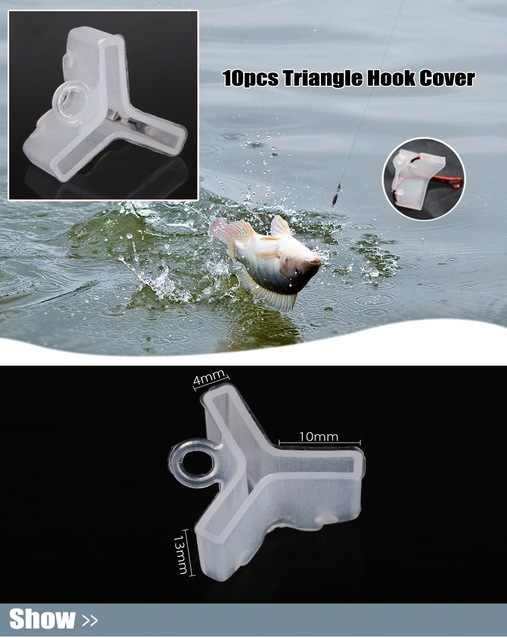 White 10pcs fishing triangle hook cover for no 4 no 5 for Fishing hook cover