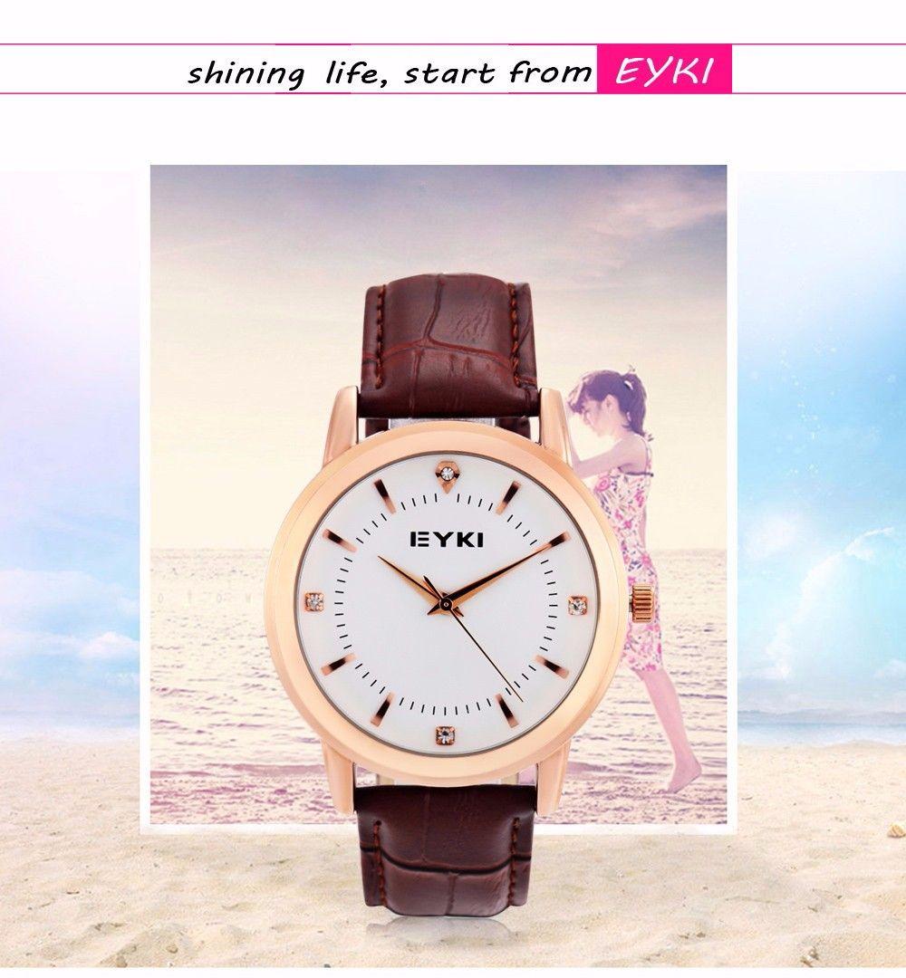 EYKI 8599 Fashion Women Quartz Watch with Rhinestone Scale