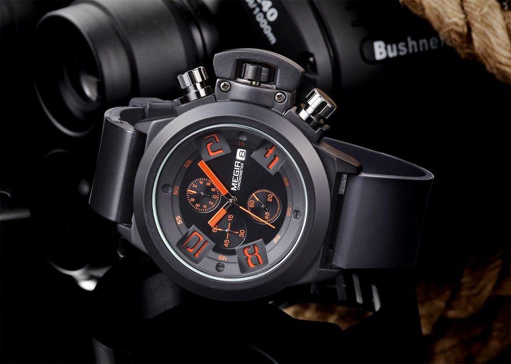 MEGIR 2002 Male Quartz Watch Date Display 30M Water Resistance Silicone Band