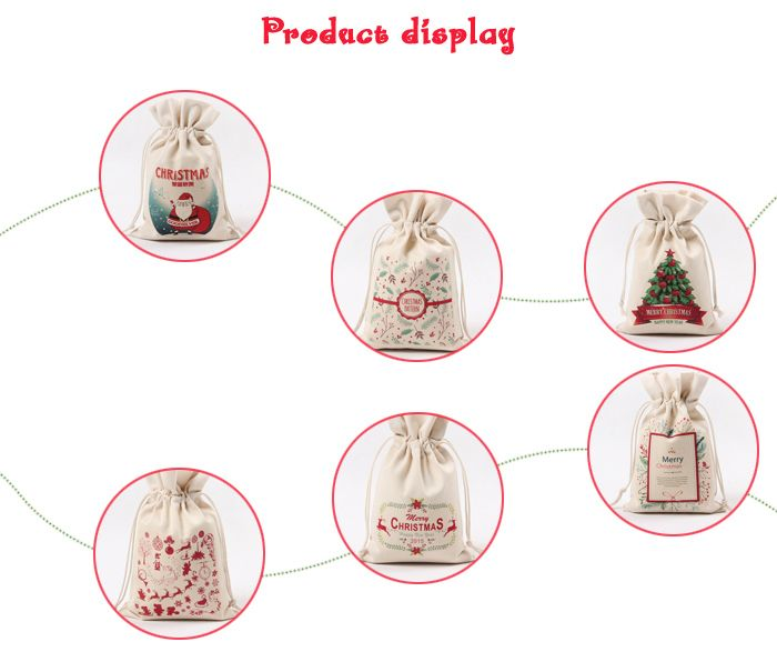 9PCS Christmas Cartoon Souvenir Present Canvas Bags Festival Product