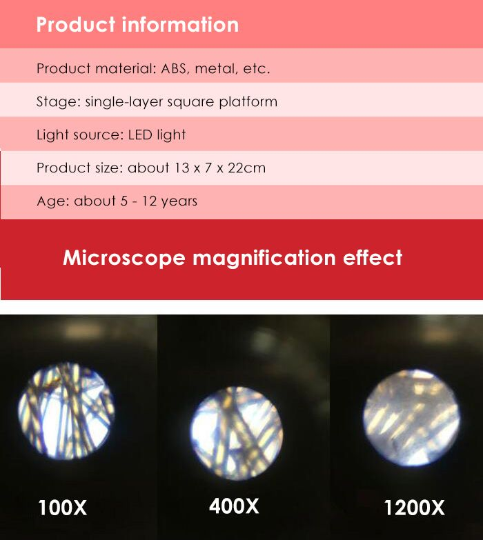 100X 400X 1200X Microscope for Children Early Studying Educational Toy