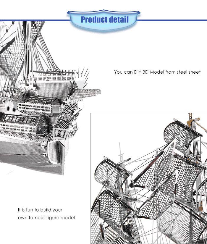 ZOYO Ship Model 3D Metallic Building Puzzle Educational Assembling Toy