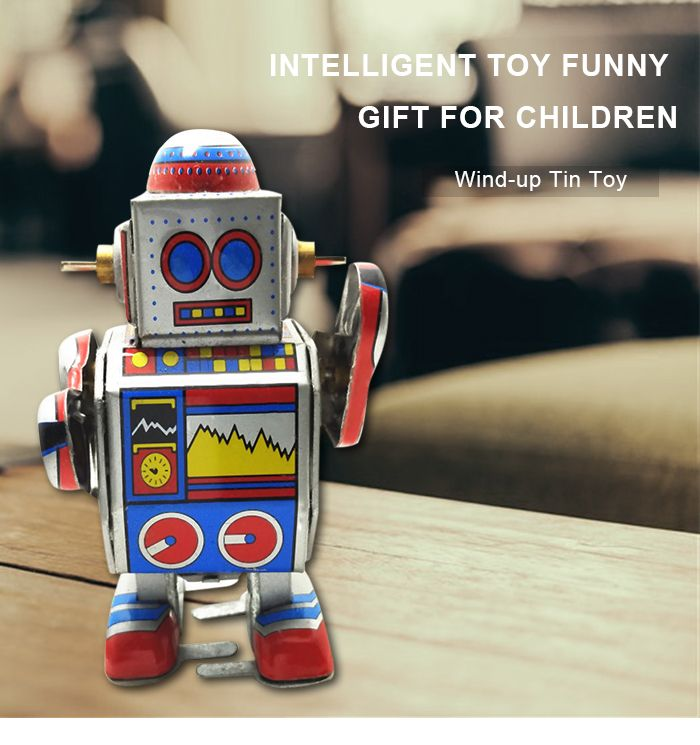 Robot Style Classical Clockwork Tin Toy Intelligent Christmas Present