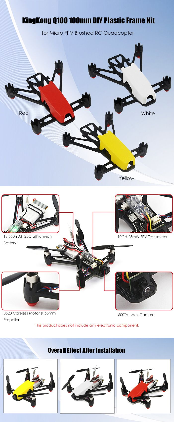 KingKong Q100 100mm DIY Frame Kit Compatible with 8520 Coreless Motor for Micro FPV Brushed RC Quadcopter
