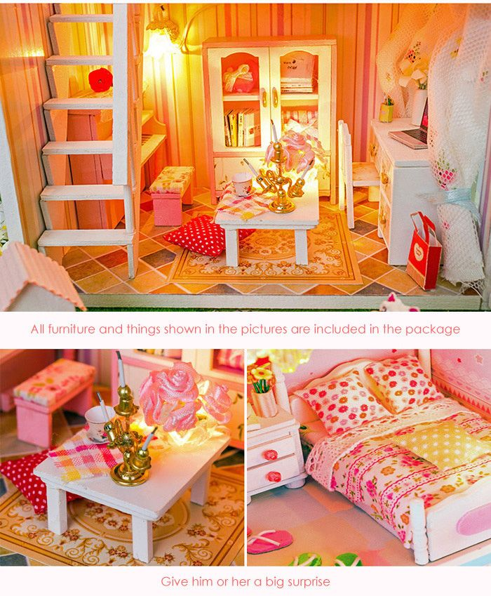 Wooden House Mini Kit with LED Light DIY Handcraft Toy
