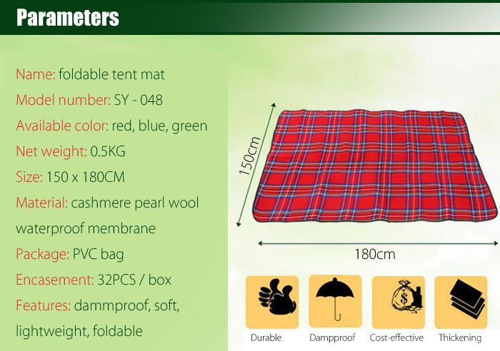 AOTU AT6228 180 x 150cm Cashmere Moisture Proof Blanket Camping Picnic Mat for Outdoor Camping